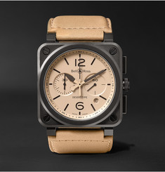 Bell & Ross - BR 03-94 Desert Type 42mm Ceramic and Leather Chronograph Watch