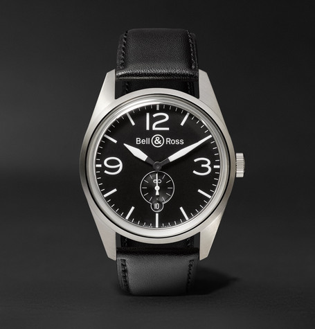 Br 123 41mm Steel And Leather Watch - Black