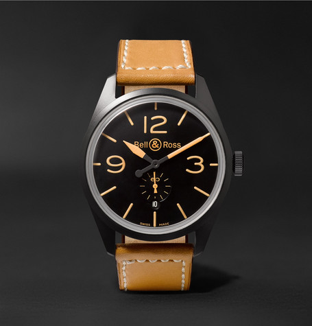 Br 123 Heritage Automatic 41mm Pvd-coated Steel And Leather Watch - Tan