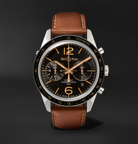 Br 126 Sport Heritage Gmt And Flyback Chronograph Steel And Leather Watch - Tan