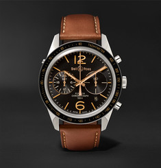 Bell & Ross BR 126 Sport Heritage GMT and Flyback Chronograph Steel and Leather Watch, Ref. No. BRV126-FLY-GMT/S