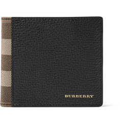 Burberry - Full-Grain Leather and Checked Cotton-Twill Billfold Wallet
