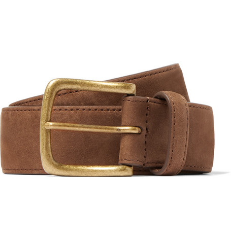 3.5cm Brown Nubuck Belt by Anderson & Sheppard