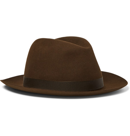 Grosgrain-trimmed Wool-felt Trilby Hat - Chocolate