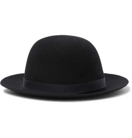 Grosgrain-trimmed Felt Hat - Midnight blue