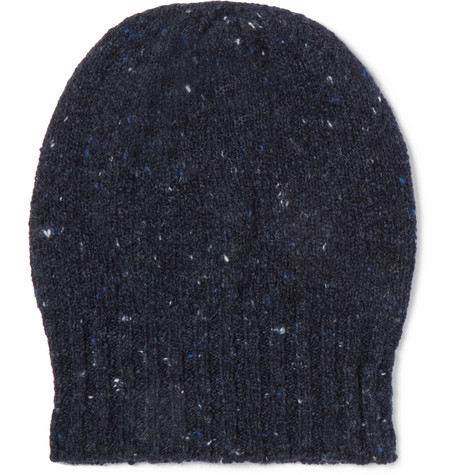 Donegal Wool And Cashmere-blend Beanie - Navy