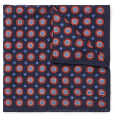 Anderson & Sheppard Printed Wool Pocket Square