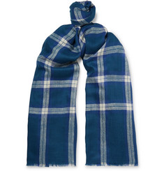 Anderson & Sheppard - Fringed Checked Cashmere Scarf
