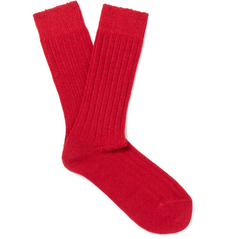 Ribbed-knit Wool-blend Socks - Red