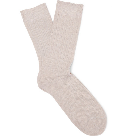 Ribbed Wool-blend Socks - Ecru
