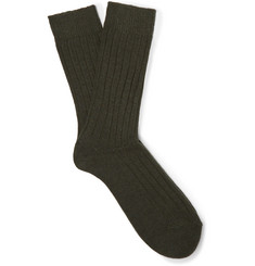 Anderson & Sheppard Ribbed Wool-Blend Socks