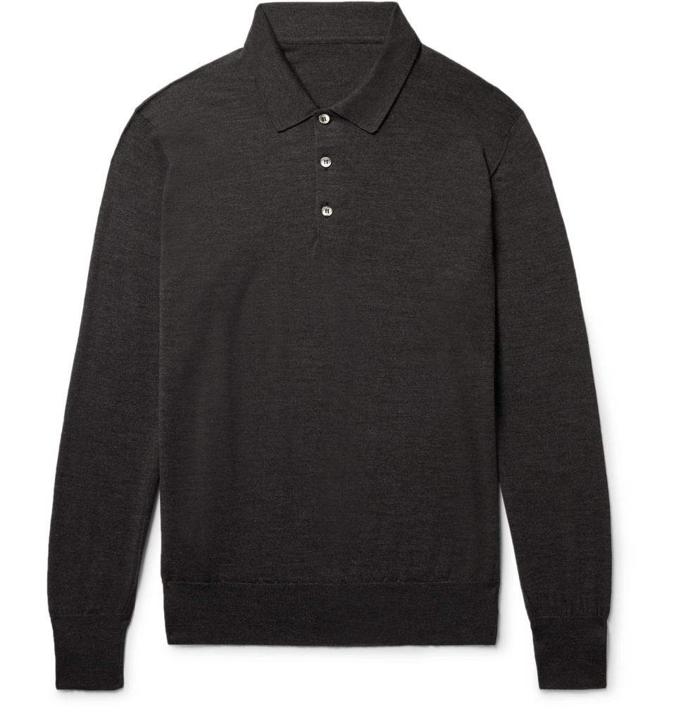 Knitted Wool Polo Shirt - Charcoal