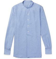 Anderson & Sheppard Grandad-Collar Cotton and Cashmere-Blend Shirt