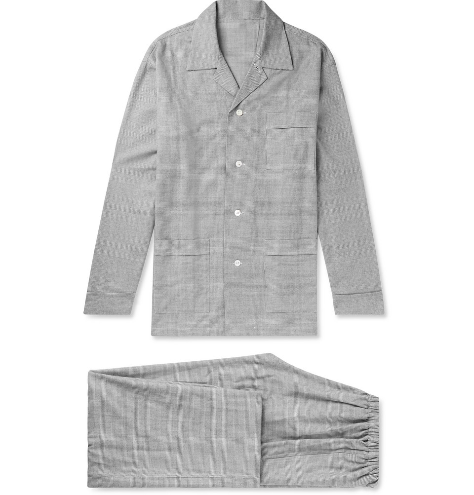 Prince Of Wales Checked Brushed-cotton Pyjama Set - Gray