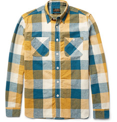 Beams Plus Slim-Fit Checked Linen and Cotton-Blend Shirt