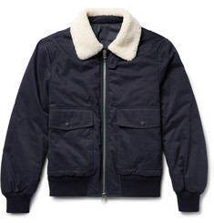 Joseph Alpha Shearling-Trimmed Cotton-Twill Flight Jacket