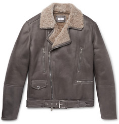 Brunello Cucinelli Belted Shearling Biker Jacket