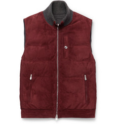 Brunello Cucinelli Reversible Cashmere-Trimmed Suede and Shell Down Gilet
