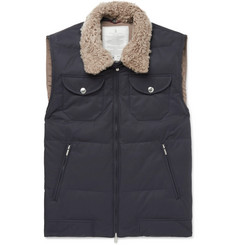 Brunello Cucinelli Shearling-Trimmed Quilted Cotton-Blend Gilet