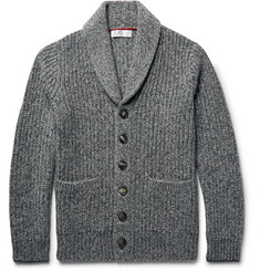 Brunello Cucinelli Shawl-Collar Ribbed Mélange Cashmere Cardigan