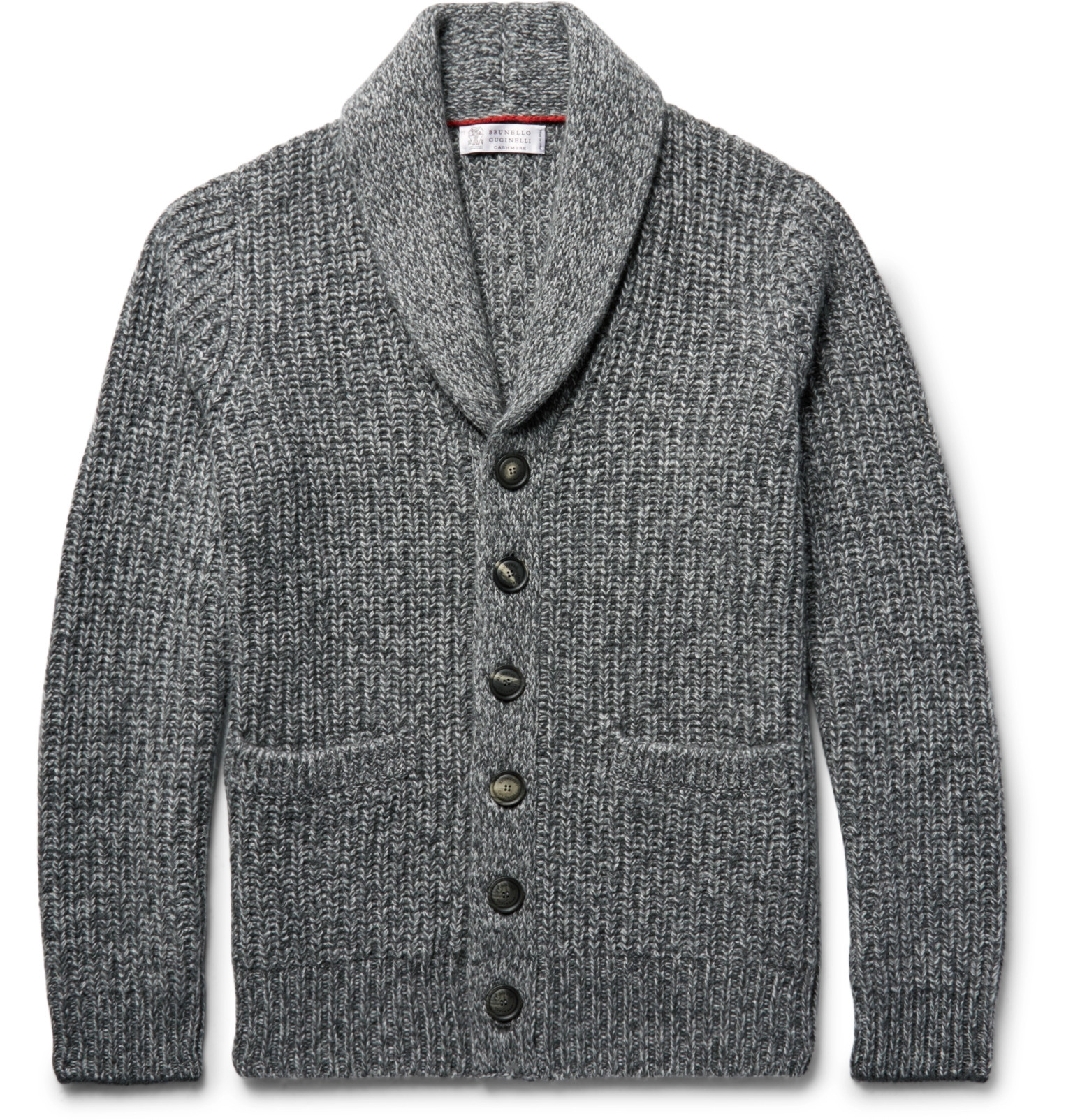 Brunello Cucinelli - Shawl-Collar Ribbed Mélange Cashmere Cardigan