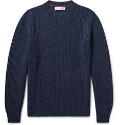 Brunello Cucinelli Ribbed Mélange Virgin Wool, Cashmere and Silk-Blend Sweater