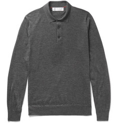 Brunello Cucinelli Contrast-Tipped Cashmere and Silk-Blend Polo Shirt