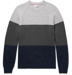Brunello Cucinelli Slim-Fit Ribbed Colour-Block Wool, Cashmere and Silk-Blend Sweater