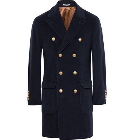 Double-breasted Virgin Wool And Cashmere-blend Coat - Midnight blue