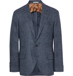 Brunello Cucinelli Blue Slim-Fit Prince Of Wales Checked Wool-Blend Blazer
