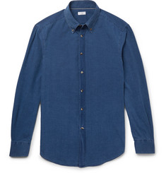 Brunello Cucinelli Slim-Fit Button-Down Collar Washed-Chambray Shirt