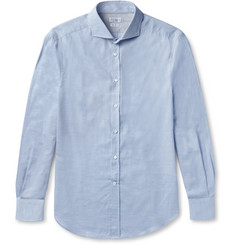 Brunello Cucinelli Slim-Fit Cutaway-Collar Herringbone Cotton Shirt