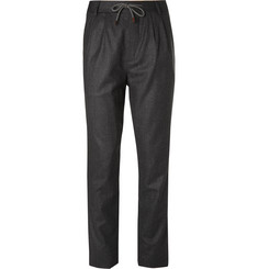 Brunello Cucinelli Slim-Fit Tapered Wool-Flannel Drawstring Trousers