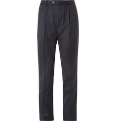 Brunello Cucinelli - Slim-Fit Pleated Pinstriped Wool-Flannel Trousers