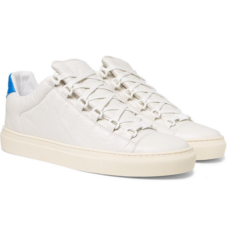 Arena Creased-leather Sneakers - White