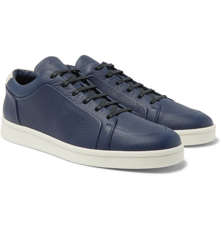 Urban Low Textured-leather Sneakers - Navy