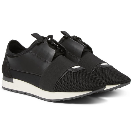 Race Runner Leather, Neoprene And Mesh Sneakers - Black