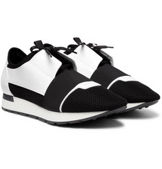 Balenciaga - Race Runner Patent-Leather, Neoprene and Mesh Sneakers