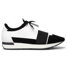 Balenciaga Race Runner Patent-Leather, Neoprene and Mesh Sneakers