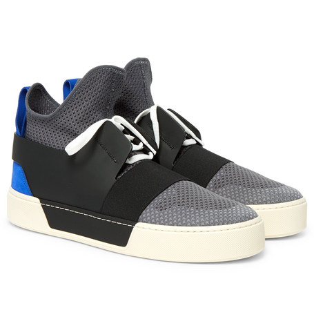 Leather, Suede And Mesh High-top Sneakers - Black