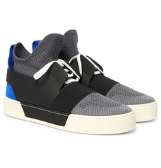 Balenciaga Leather, Suede and Mesh High-Top Sneakers