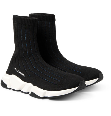 Men'S Speed Signature Mesh Sock Sneakers, Black