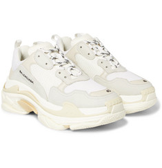 Balenciaga - Triple S Suede and Mesh Sneakers