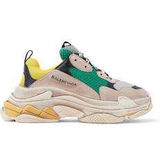 Balenciaga Triple S Distressed Creased-Leather, Nubuck and Mesh Sneakers