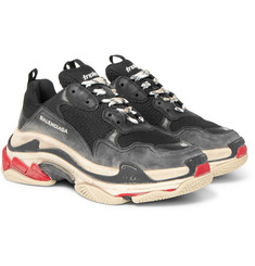 Balenciaga Triple S Distressed Cracked-Leather and Mesh Sneakers