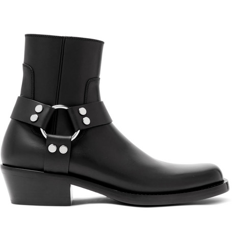 Balenciaga Leather Harness Boots In Black