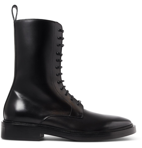 Balenciaga Lace-up Leather Combat Boot In Black