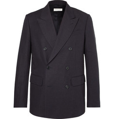 Dries Van Noten Navy Banks Double-Breasted Pinstriped Cotton and Linen-Blend Suit Jacket