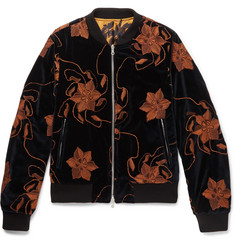 Dries Van Noten Reversible Embroidered Velvet and Printed Satin Bomber Jacket