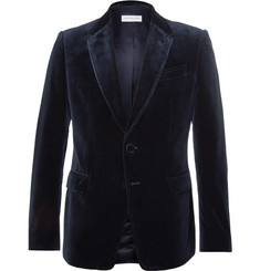 Dries Van Noten Navy Blaine Slim-Fit Cotton-Velvet Blazer